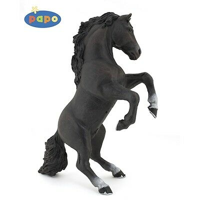 Papo Black Reared Up Horse - Farmyard Animal Figure Model Detailed Plastic Toy