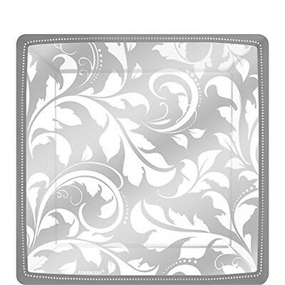 Silver Paper Party Plates x 8