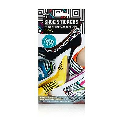 Geo Shoe Decorating Stickers - Sketchy Illustration Water Proof 3 Pack Custom
