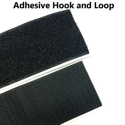 """2"""" x 5 Yards  Black Self Adhesive Hook and Loop Strap Stick on Tape Fabric"""