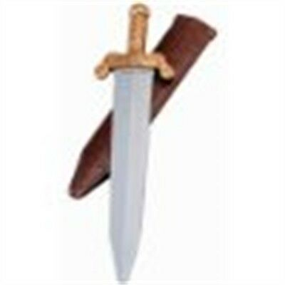 Children's Plastic Toy Roman Sword - Silver And Gold & Scabbard Fancy Dress