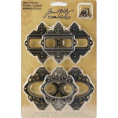 Pack Of 6 Idea-ology Ornate Plates - Antique Nickel Brass And Copper With