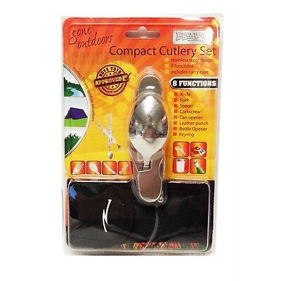 8 In 1 Compact Cutlery Set - Camping Stainless Steel Function Belt Pouch Kit