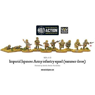 Summer Imperial Japanese Army Infantry Squad Miniatures - Warlord Games Bolt