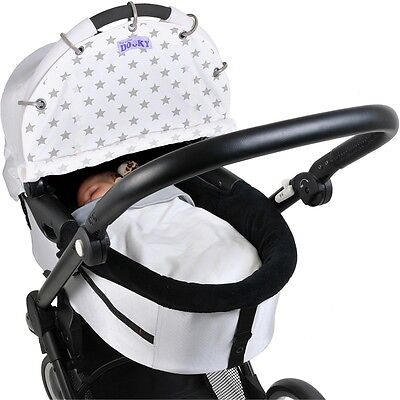 Dooky Shade Design Silver Stars - Universal Fit Carriers Strollers Pushchairs
