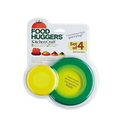 Set Of 4 Silicone Food Huggers Assorted Designs - Kitchen Craft Keep Fruit Veg