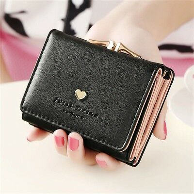 Women Lady Leather Clutch Short Black Wallet PU Card Holder Purse Handbag Bag