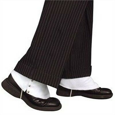 White Adults Spats Shoe Covers - Gangster 1920's Jazz New Fancy Dress Costume