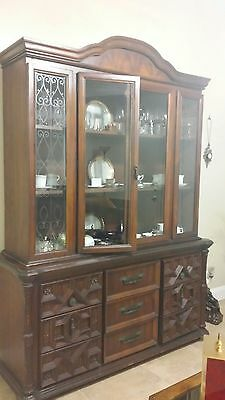 antique cabinet two glass doors 9 drawers