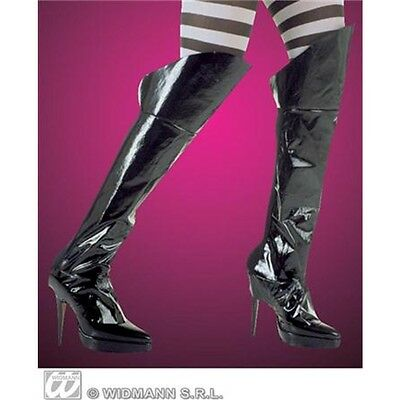 Adult's Black Boot Top Covers - Long Pvc Pirate Fancy Dress Costume