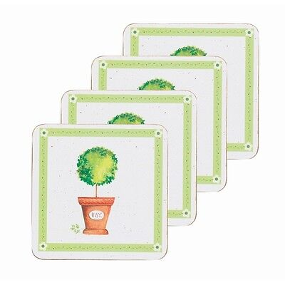 10cm Set Of 4 Herb Pot Cork Backed Coasters - Kitchen Craft Four Drinking