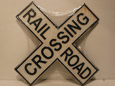 Black & White Railroad Crossing Embossed Metal Sign New Collectible Sign