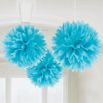 Amscan 18055-54-55 40cm Caribbean Paper Fluffy Decorations - Blue 3 Party 16