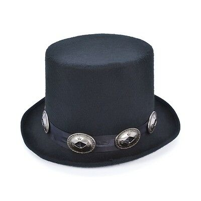 Black Rocker Style Top Hat - Fancy Dress Victorian Races Circus