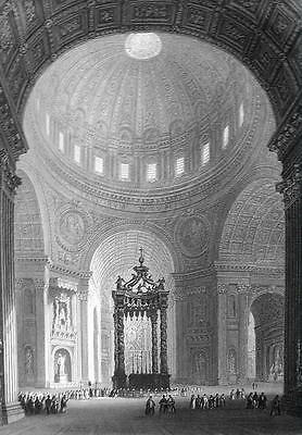 ITALY St. Peter's Basilica Interior - 155 Years Old Antique Print Engraving