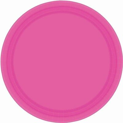 Amscan International 22.8cm Paper Plates Bright Pink, Pack Of 20