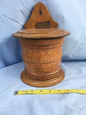 Antique Victorian beech and pine salt box