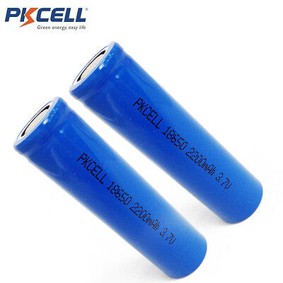 2 x ICR 18650 3.7V Battery Lithium Rechargeable Battery 2200mAh PKCELL