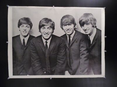 c.1960s BEATLES Black and White Photo Poster Vintage Original Early Fab Four