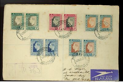 1937 Simonstown South Africa  registered first day cover Coronation Pairs KGVI