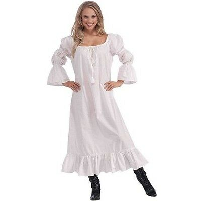 White Ladies Medieval Chemise Dress - Robe Reenactment Fancy One Size