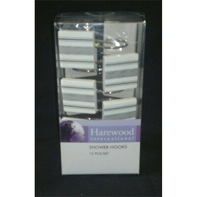 Black Stripe Set Of 12 Shower Hooks - Pack Curtain With