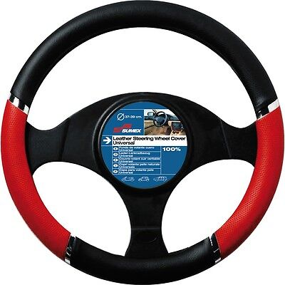 37-39cm Red Black Speed Design Wheel Cover - Sumex Pvc Steering Race Driving