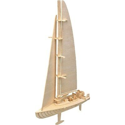 Yacht Woodcraft Construction Kit - Kids Wooden Boat Model Game Building Puzzle