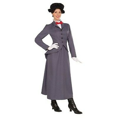 Grey Ladies Victorian Nanny Costume - Mcfee Style Fancy Dress Outfit Theatre
