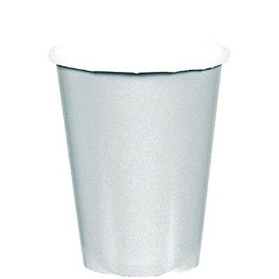 8 Paper Cups 266ml Silver Party