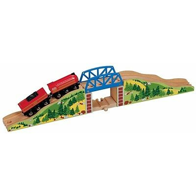 Wooden Railway Hilltop Bridge Set - Toys For Play Train Kids Toy Compatible