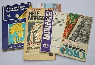 Lot of four vintage maps-Norway & Oslo