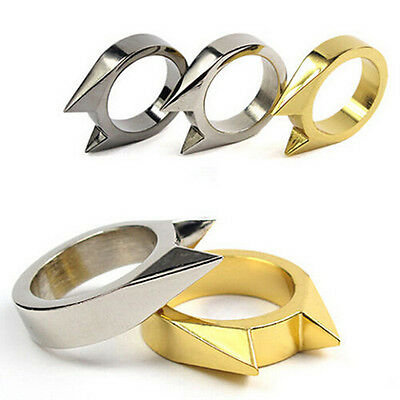 1XEDC Self Defence Stainless Steel Ring Finger Defense Ring Tool Survival GearFT