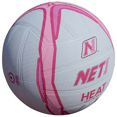Size 5 White & Pink Net1 Heat Netball - And Indoor Or Outdoor Techni Grip Ball