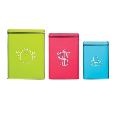 Set Of 3 Colourworks Beverage Storage Tins - Bright Tea Coffee Sugar Containers