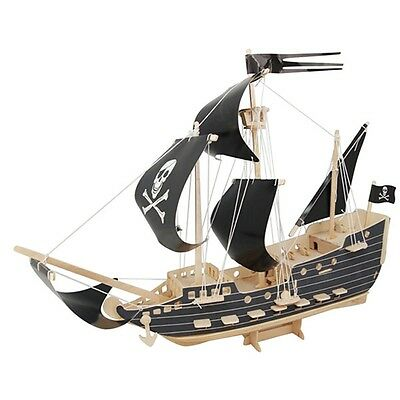 Pirate Ship Woodcraft Construction Kit - Fsc Kids Wooden Model Game Building Toy