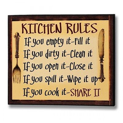 Kitchen Rules Wooden Message Plaque - Sign Wall Hanging Art Humorous Home Décor