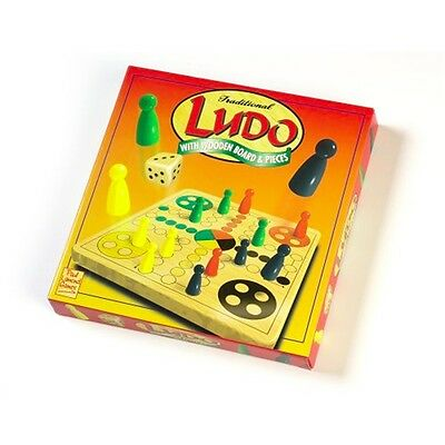Ludo Game With Wooden Board & Pieces - Traditional Family Fun Dice Kids Boys
