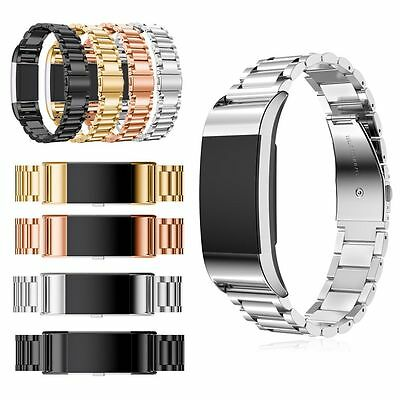 Luxury Stainless Steel Replacement Watch Band Metal Strap For Fitbit Charge 2
