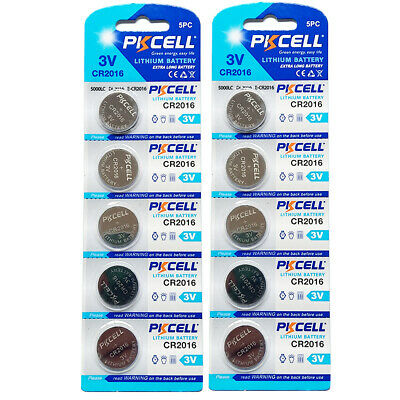 10x CR2016 CR 2016 DL2016 ECR2016 3V Button Coin Cell Battery Batteries PKCELL