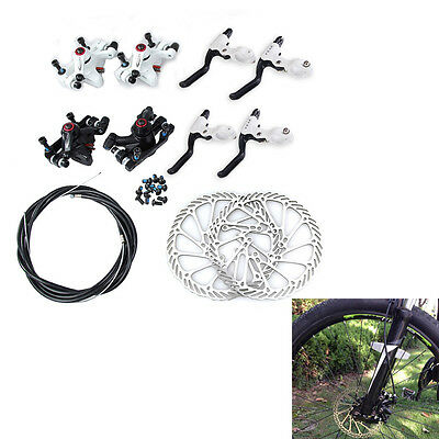 MTB Bicycle Disc Brake Set Kit Calipers Levers Front + Rear 160mm Hose 2 C