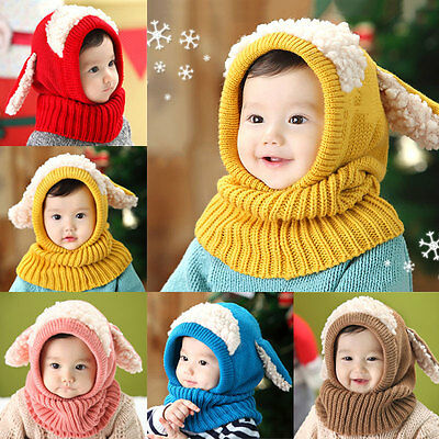 Baby Winter Warm  Hat Beanie with Scarf Dog Style Crochet Knitted Caps