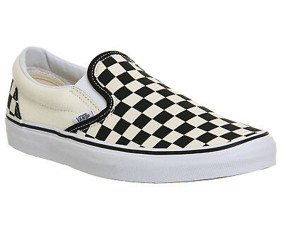 806e4e4d1 MENS VANS CLASSIC Slip On Trainers Black White Check Trainers Shoes ...