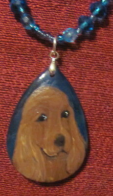 Irish Setter hand painted on blue-green Agate pendant/bead/necklace