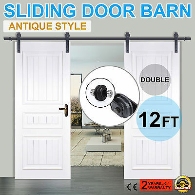 12FT Black Country Style Barn Wood Iron Double Sliding Door Hardware Closet Set