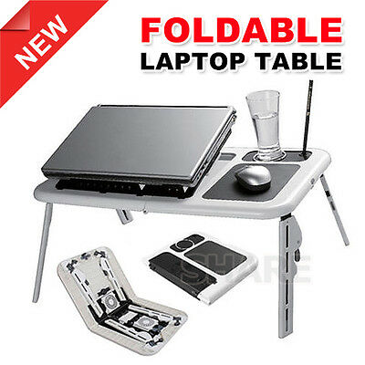 Portable Foldable  Laptop Table Adjustable Lap Desk E-Table Bed USB Cooling Fans