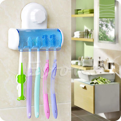 5 Racks Toothbrush Spinbrush Suction Holder Bathroom Wall Mount Stand Rack Home