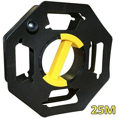 25m Black Cable Reel - Empty Plastic Extension Tidy Multi-use Plastic