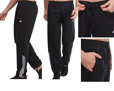 Adidas Mens Cotton Fleece Warm Fitness Gym Sport Trousers Pants New