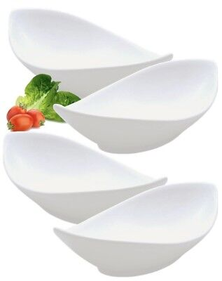 Set Of 4 Pure White Oval Twist Porcelain Salad Rice Starter Pasta Bowls 20cm 8""